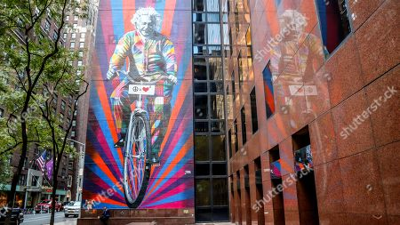 Work of the Brazilian artist Eduardo Kobra honors Albert Einstein on the Island of Manhattan in New York