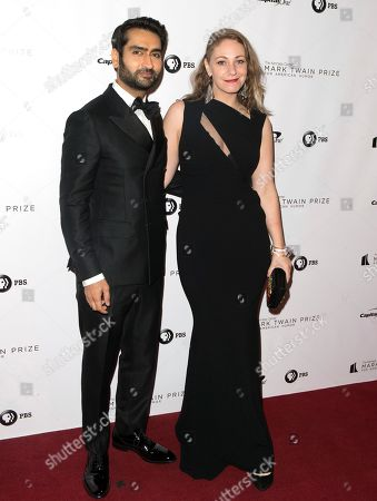 Kumail Nanjiani, Emily Gordon. Kumail Nanjiani and his wife, Emily Gordon, arrive at the Kennedy Center for the Performing Arts for the 21st Annual Mark Twain Prize for American Humor presented to Julia Louis-Dreyfus, in Washington