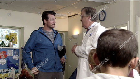 Stock Picture of Ep 9592 Monday 22 October 2018 - 1st Ep Brian Packham, as played by Peter Gunn, is mortified when Jack Webster, as played by Kyran Bowes, is upset at being made to feel different at the after school club when Gary's mate Greg, as played by Cassidy Little, arrives.