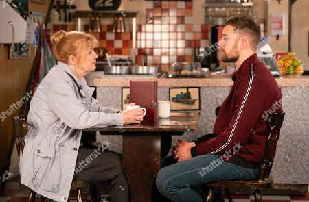 Ep 9602 Friday 2 November 2018 - 1st Ep  Ronan's mother Patti, as played by Anne Kent, approaches Ali Neesom, as played by James Burrows, and asks him to talk her through her son's final moments. Struggling to keep his emotions in check Ali lies, telling her he did everything he could to save her son.