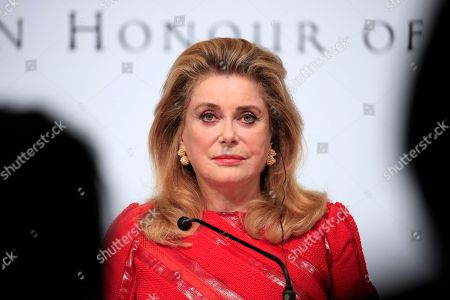 French actress Catherine Deneuve attends a press conference for the 30th Praemium Imperiale in Tokyo, Japan, 22 October 2018. The Praemium Imperiale is a global arts prize awarded annually by the Japan Art Association. Five laureates are nominated in the fields of Painting, Sculpture, Architecture, Music and Theatre/Film. For its 30th edition, the Praemium Imperiale awards have been given to French painter Pierre Alechinsky, Japanese artist Fujiko Nakaya, French architect Christian de Portzamparc, Italian conductor Riccardo Muti and French actress Catherine Deneuve. Pierre Alechinsky and Riccardo Muti didn't attend the press conference.