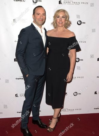Tony Hale, Martel Thompson. Tony Hale with his wife Martel Thompson arrive at the Kennedy Center for the Performing Arts for the 21st Annual Mark Twain Prize for American Humor presented to Julia Louis-Dreyfus, in Washington, D.C