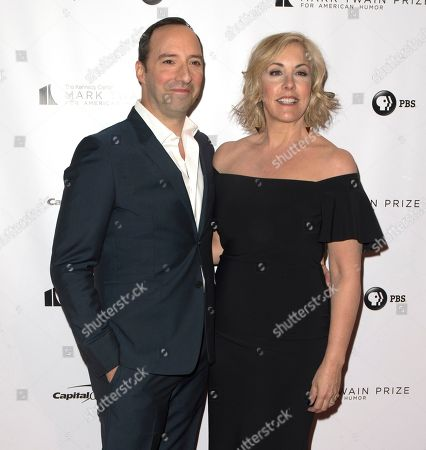 Stock Image of Tony Hale, Martel Thompson. Tony Hale with his wife Martel Thompson arrive at the Kennedy Center for the Performing Arts for the 21st Annual Mark Twain Prize for American Humor presented to Julia Louis-Dreyfus, in Washington, D.C