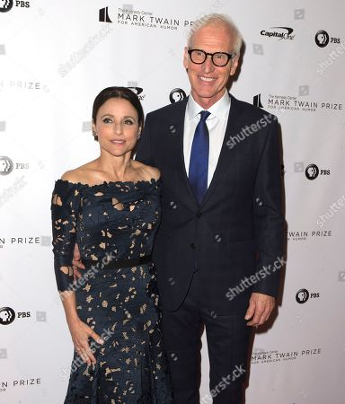 Julia Louis-Dreyfus, Brad Hall. Julia Louis-Dreyfus with her husband Brad Hall arrive at the Kennedy Center for the Performing Arts for the 21st Annual Mark Twain Prize for American Humor presented to Julia Louis-Dreyfus, in Washington, D.C