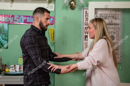 Stock Picture of Ep 8296 Thursday 25th October 2018 - 2nd Ep Ross Barton, as played by Michael Parr, suggests that they leave the village, Rebecca White, as played by Emily Head, is surprised and wonders if he is serious.