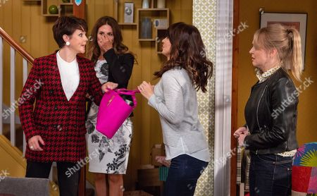 Stock Image of Ep 8293 Tuesday 23rd October 2018 Megan Macey, as played by Gaynor Faye, and Leyla Harding, as played by Rokhsaneh Ghawam-Shahidi, are shocked when they find a mysterious woman, Suzie, as played by Maeve Larkin, ransacking the house but Leyla appears to know who she is. Suzie grabs Leyla's handbag and a load of jewellery spills out. Suzie declares that Leyla stole them along with her fiancé, Clive.