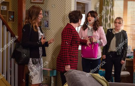 Ep 8293 Tuesday 23rd October 2018 Megan Macey, as played by Gaynor Faye, and Leyla Harding, as played by Rokhsaneh Ghawam-Shahidi, are shocked when they find a mysterious woman, Suzie, as played by Maeve Larkin, ransacking the house but Leyla appears to know who she is. Suzie grabs Leyla's handbag and a load of jewellery spills out. Suzie declares that Leyla stole them along with her fiancé, Clive.