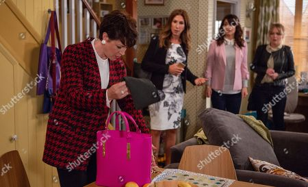 Stock Photo of Ep 8293 Tuesday 23rd October 2018 Megan Macey, as played by Gaynor Faye, and Leyla Harding, as played by Rokhsaneh Ghawam-Shahidi, are shocked when they find a mysterious woman, Suzie, as played by Maeve Larkin, ransacking the house but Leyla appears to know who she is. Suzie grabs Leyla's handbag and a load of jewellery spills out. Suzie declares that Leyla stole them along with her fiancé, Clive.