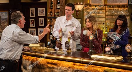 Ep 8305 Tuesday 6th November 2018 Bob Hope, as played by Tony Audenshaw, is thrilled to be working back behind the Woolpack bar and suggests throwing a stripper's night on Thursday. With Marlon Dingle, as played by Mark Charnock ; Charity Dingle, as played by Emma Atkins ; Chas Dingle, as played by Lucy Pargeter.