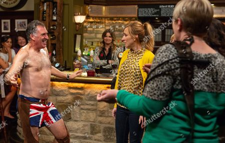 Ep 8307 Thursday 8th November 2018 - 1st Ep Bob Hope, as played by Tony Audenshaw, is sent into a panic when he gets a phone call from the strippers to say they're cancelling. Bob tries to get a replacement but ends up with only himself, Jimmy, Rishi and Doug to fill in. Later, Laurel Thomas, as played by Charlotte Bellamy, is taken aback to arrive home to find Bob gyrating on stage. Bob tries to pull her up but she ends up pushing him over and announces they're finished in front of everyone... With Charity Dingle, as played by Emma Atkins.