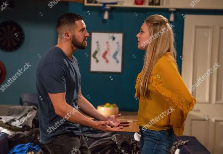 Stock Photo of Ep 8301 Thursday 1st November 2018 As the bad feeling grows, Rebecca White, as played by Emily Head, suggests to Ross Barton, as played by Michael Parr, that they wait a few months.
