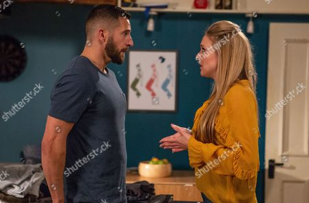 Stock Image of Ep 8301 Thursday 1st November 2018 As the bad feeling grows, Rebecca White, as played by Emily Head, suggests to Ross Barton, as played by Michael Parr, that they wait a few months.