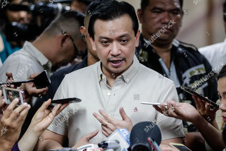 Stock Picture of Philippine Senator Antonio Trillanes IV answers questions from the media during a press conference at the Philippine Senate in Pasay City, south of Manila, Philippines, 22 October 2018. A Makati City regional trial court denied an arrest warrant for Trillanes in relation to a coup d'etat case filed against him during the term of former President Gloria Macapagal-Arroyo.