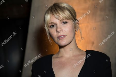 Hannah Arterton poses for photographers upon arrival at the party for the film 'Stan and Ollie' showing as part of the BFI London Film Festival in London