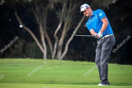 Scotland's Marc Warren plays a shot during the Andalucia Valderrama Masters golf tournament at Valderrama golf course in San Roque, Cadiz, southern Spain, 22 October 2018.