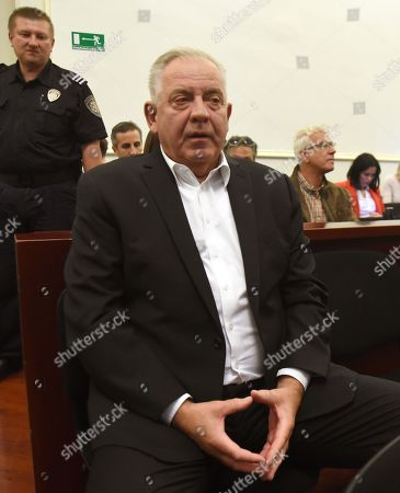 Croatia's former Prime minister Ivo Sanader gestures during his verdict trial in Zagreb, Croatia, 22 October 2018. Former Prime Minister Sander was found guilty for accepting a bribe from an Austrian Hypo bank during the country's 1990s conflict during his war profiteering retrial and sentenced to 2,5 years in jail. Ivo Sanader  who led the government from 2003-2009, has also been indicted in several other abuse of power and graft cases.