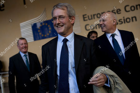 Owen Paterson, Iain Duncan, David Trimble. British lawmakers Owen Paterson, centre, Iain Duncan, right, and David Trimble, left, leave after talking to reporters outside the European Commission's headquarters in Brussels, . The three came for talks with EU Brexit negotiator Michel Barnier on ways to keep trade flowing smoothly across the border between EU member state Ireland and Northern Ireland in the U.K. after Britain leaves
