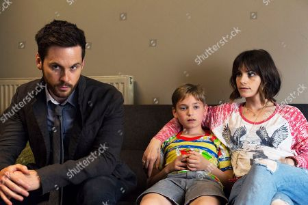 Stock Photo of DI Will Wagstaffe, as played by Tom Riley, Harry, as played by Joseph Teague, and Juliette, as played by Charlotte Riley.