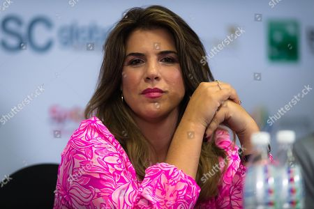 Stock Picture of Jennifer Capriati talks to the media during the WTA Legends Press Conference at the 2018 WTA Finals tennis tournament