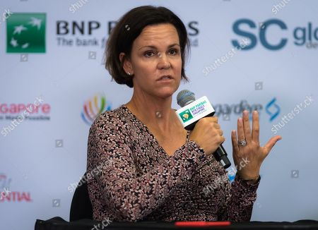 Lindsay Davenport talks to the media during the WTA Legends Press Conference at the 2018 WTA Finals tennis tournament