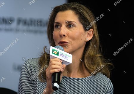 Monica Seles talks to the media during the WTA Legends Press Conference at the 2018 WTA Finals tennis tournament