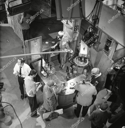 Gantry shots of Granada TV studio floor and Coronation Street sets. Graham Haberfield (as Jerry Booth), Doris Speed (as Annie Walker), Bernard Youens (as Stan Ogden) and Gordon Rollings (as Charlie Moffitt)