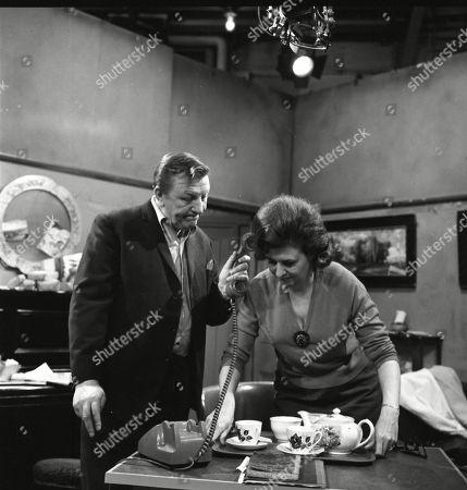 Barry Keegan (as Jim Mount) and Pat Phoenix (as Elsie Tanner)