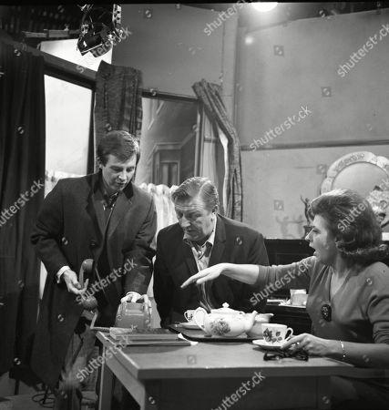 Philip Lowrie (as Dennis Tanner), Barry Keegan (as Jim Mount) and Pat Phoenix (as Elsie Tanner)