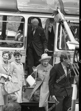 Coronation Street cast on location at Speedwell Caves, June 1965. Jean Alexander (as Hilda Ogden), Eileen Derbyshire (as Emily Nugent), Arthur Leslie (as Jack Walker), Doris Speed (as Annie Walker) and Gordon Rollings (as Charlie Moffitt)