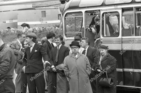 Coronation Street cast on location at Speedwell Caves, June 1965. Bernard Youens (as Stan Ogden), Gordon Rollings (as Charlie Moffitt), Philip Lowrie (as Dennis Tanner), Jack Howarth (as Albert Tatlock), Pat Phoenix (as Elsie Tanner), Peter Adamson (as Len Fairclough), Alan Rothwell (as David Barlow), Sandra Gough (as Irma Ogden) and Margot Bryant (as Minnie Caldwell)