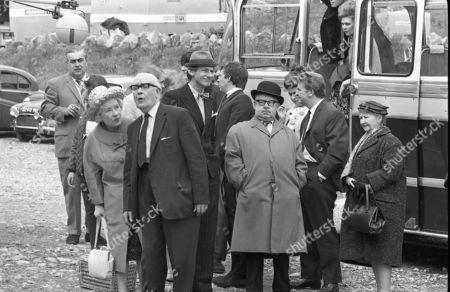 Coronation Street cast on location at Speedwell Caves, June 1965. Bernard Youens (as Stan Ogden), Doris Speed (as Annie Walker), Arthur Leslie (as Jack Walker), Gordon Rollings (as Charlie Moffitt), Philip Lowrie (as Dennis Tanner), Jack Howarth (as Albert Tatlock), Pat Phoenix (as Elsie Tanner), Peter Adamson (as Len Fairclough), Sandra Gough (as Irma Ogden) and Margot Bryant (as Minnie Caldwell)