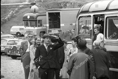 Coronation Street cast on location at Speedwell Caves, June 1965. Bernard Youens (as Stan Ogden), Heather Moore (as Sandra Petty), Gordon Rollings (as Charlie Moffitt), Pat Phoenix (as Elsie Tanner), Peter Adamson (as Len Fairclough), Jack Howarth (as Albert Tatlock), Arthur Leslie (as Jack Walker), Sandra Gough (as Irma Ogden) and Alan Rothwell (as David Barlow)