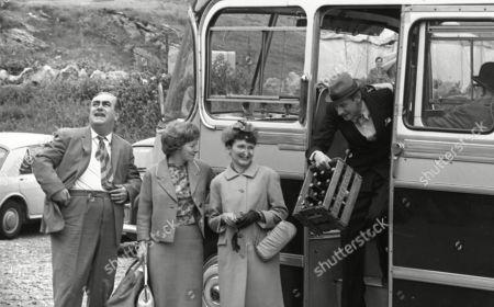 Coronation Street cast on location at Speedwell Caves, June 1965. Bernard Youens (as Stan Ogden), Jean Alexander (as Hilda Ogden), Eileen Derbyshire (as Emily Nugent), Gordon Rollings (as Charlie Moffitt) and Jack Howarth (as Albert Tatlock)