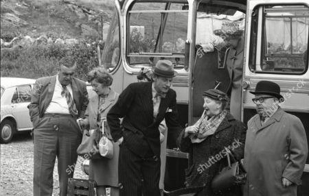 Coronation Street cast on location at Speedwell Caves, June 1965. Bernard Youens (as Stan Ogden), Jean Alexander (as Hilda Ogden), Gordon Rollings (as Charlie Moffitt), Margot Bryant (as Minnie Caldwell), Doris Speed (as Annie Walker) and Jack Howarth (as Albert Tatlock)