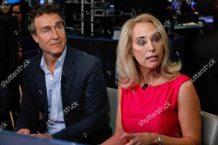 """Doug Liman, Valerie Plame. Film director Doug Liman, left, and former undercover CIA officer Valerie Plame are interviewed on Cheddar, on the floor of the New York Stock Exchange, . Liman directed the 2010 film """"Fair Game"""" about the Plame affair"""