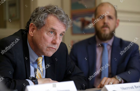 Stock Image of Sen. Sherrod Brown, D-Ohio, participates in a roundtable discussion with addiction treatment professionals and patients at St. Vincent Charity Medical Center, in Cleveland. Brown was in Cleveland to discuss the passage of his bill to help more Ohioans access treatment for substance use disorders