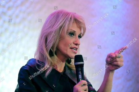 White House counselor Kellyanne Conway speaks in support of Republican congressional candidate Jay Webber at an event in Wayne, N.J., . Webber is running against Democrat Mikie Sherrill; the race is among the most closely watched this year as Republicans defend their House majority and Democrats hope to flip about two dozen seats to take control
