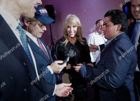 White House counselor Kellyanne Conway makes her way through the crowd after speaking in support of Republican congressional candidate Jay Webber at an event in Wayne, N.J., . Webber is running against Democrat Mikie Sherrill; the race is among the most closely watched this year as Republicans defend their House majority and Democrats hope to flip about two dozen seats to take control