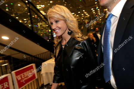 White House counselor Kellyanne Conway leaves after speaking in support of Republican congressional candidate Jay Webber at an event in Wayne, N.J., . Webber is running against Democrat Mikie Sherrill; the race is among the most closely watched this year as Republicans defend their House majority and Democrats hope to flip about two dozen seats to take control