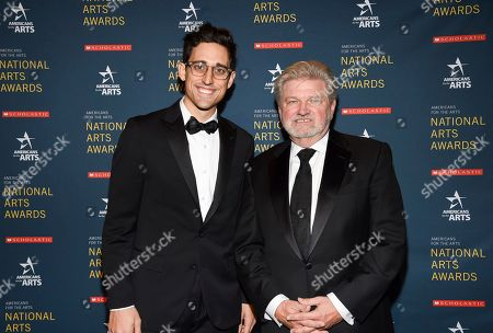 Justin Peck, Patricia Delgado. Ted Arison Young artist award honoree Justin Peck and Americans for the Arts president and CEO Robert Lynch pose together at the 2018 National Art Awards, hosted by Americans for the Arts, at Cipriani 42nd Street, in New York