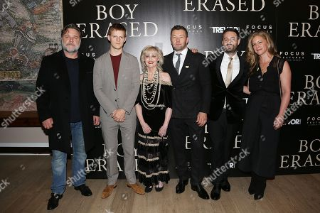 Stock Picture of Russell Crowe, Lucas Hedges, Martha Conley, Joel Edgerton (Writer, Director), Garrard Conley (Author) and Kerry Roberts (Producer)