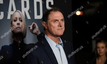 """Boris McGiver, a cast member in """"House of Cards,"""" poses at the season six premiere of the Netflix political drama series, in Los Angeles"""