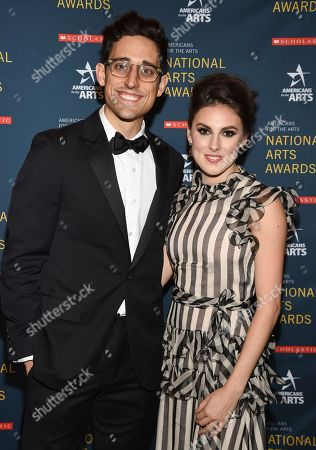 Stock Photo of Justin Peck, Tiler Peck. Ted Arison Young artist award honoree Justin Peck, left, and ballerina Tiler Peck pose together at the 2018 National Art Awards, hosted by Americans for the Arts, at Cipriani 42nd Street, in New York