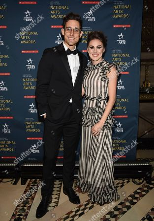 Stock Image of Justin Peck, Tiler Peck. Ted Arison Young artist award honoree Justin Peck, left, and ballerina Tiler Peck pose together at the 2018 National Art Awards, hosted by Americans for the Arts, at Cipriani 42nd Street, in New York