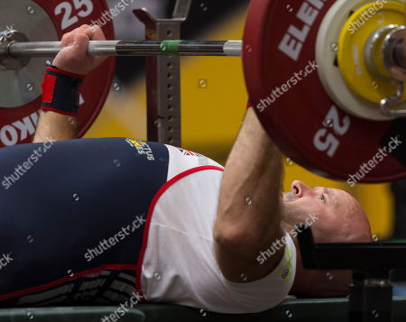 Daniel Phillips of Britain competes in the powerlifting event of the Invictus Games in Sydney, Australia, 23 October 2018. The Sydney Invictus Games 2018, at which wounded or sick armed services personnel and veterans will compete, run from 20 to 27 October 2018.