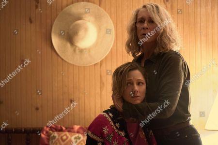 Judy Greer as Karen, Jamie Lee Curtis as Laurie Strode