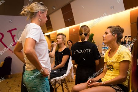 Andrea Hlavackova & Barbora Strycova of the Czech Republic in the Doubles Styling Lounge at the 2018 WTA Finals tennis tournament