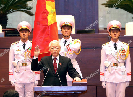 Vietnam's Communist Party General Secretary Nguyen Phu Trong is sworn in as the country's president in Hanoi, Vietnam, . The 74-year-old Trong was elected president by the National Assembly succeeding thelate President Tran Dai Quang who died last month after battling a viral illness for more than a year