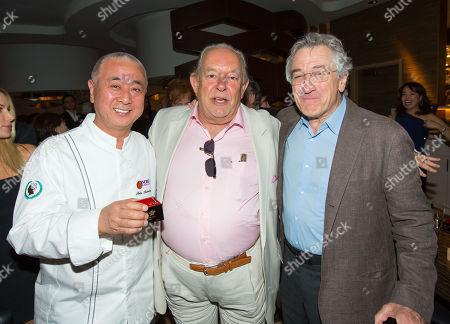 Chef Nobuyuki Matsuhisa, Robin Leach and Robert De Niro, Nobu Hotel Grand Opening Event, Caesars Palace Las Vegas, Nevada