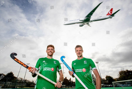 Stock Image of Green Machine head coach, Alexander Cox, has today announced his World Cup squad of 20 players that will travel to Bhubaneswar in India for the showpiece event. The team will be the first Irish men?s hockey team to compete at a World Cup since 1990. Speaking at the announcement, Cox said ?I am proud to announce our World Cup squad. The camps we had in Ireland and overseas were very good and allowed me to see the potential of all the players in our training panel. The 20 players selected give me the most options in defense, midfield and attack. We are very much looking forward to the upcoming tournament in Valencia which will be our first test as a team as we look towards the World Cup?. Today also marked the unveiling of Turkish Airlines as the new primary sponsor of the senior men?s team, speaking about the announcement Hockey Ireland CEO Jerome Pels said ?We are pleased to reveal Turkish Airlines as the new primary sponsor of the Green Machine. Hockey is a global sport and we?re delighted to partner with such an international brand like Turkish Airlines. They have a long history of sponsorship in sport and we?re very excited about this partnership?. Hasan Mutlu, Turkish Airlines General Manager for Ireland, commented ?We are delighted to be announcing Turkish Airlines as the sponsorship partner for Ireland?s men?s hockey team. This is a momentous day for both organisations as we cement our relationship we can clearly see the immense potential for this team on the international stage. We are delighted to support them in their every success as the men?s hockey World Cup in India comes closer into view?. Pictured today is Shane O'Donoghue and Jonny Bell
